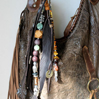 Brown Gemstons mint green leather feather bag charm tassel fringe beads key fob sweetsmokebags boho boemian purse hobo gypsy rearview mirror
