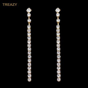 New Simple Style Crystal Long Strip Earrings Gold Color Rhinestone Dangle Earrings For Women Bridal Wedding Party Jewelry Gifts