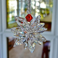STELLA With a HINT of RED Swarovski Crystal Suncatcher - Cluster of Clear Swarovski Octagons - for Car or Home - Available in 2 Lengths