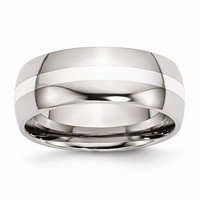 Men's Stainless Steel Sterling Silver Inlay Polished Wedding Band Ring: RingSize: 11