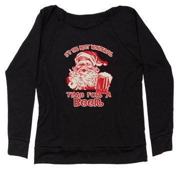 It's The Most Wonderful Time For A Beer Slouchy Off Shoulder Oversized Sweatshirt
