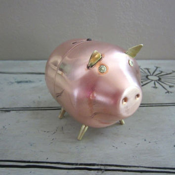 Piggy Bank Copper Piggy Bank Copper Pig Pig Bank Vintage Copper Brass Decor Copper Decor Copper Figurine Vintage Pig Coin Bank Vintage Bank