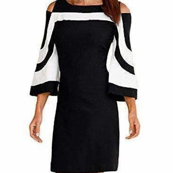 Elapsy Womens Casual 3 4 Bell Sleeve Crewneck Cold Shoulder Colorblock Club Party Shift Dress White Black Medium