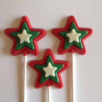 24 Christmas Star Chocolate Lollipop Party Favors
