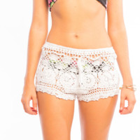 Tiare Hawaii Crochet Beach Shorts White