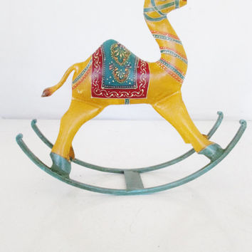 Vintage Camel Figurine Metal Rocking Camel Toy Small Rocking Animal Vintage Toy Handcrafted Folk Art Toy Rustic Rocking Camel Unique Gift