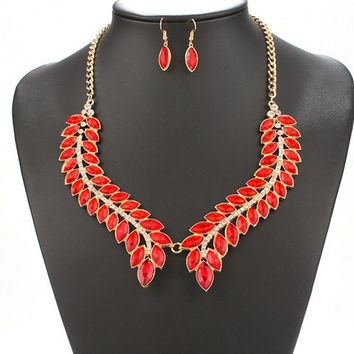 Red Leaf Necklace and Earrings