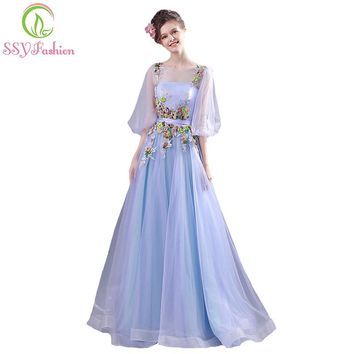 Sweet Romantic Light Blue Lace Flower Evening Dress Bride Half Sleeved Appliques Long Prom Party Gown