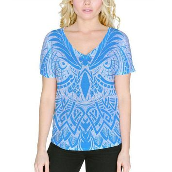 ONETOW Tribal Guardian Owl Tattoo Women's Slouchy V-Neck T Shirt