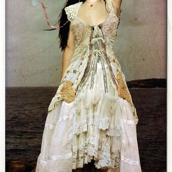 mori girl DRESS upcycled wedding tattered bohemian beach dress CUSTOM