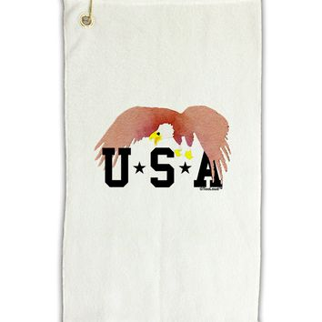 "Bald Eagle USA Micro Terry Gromet Golf Towel 11""x19 by TooLoud"