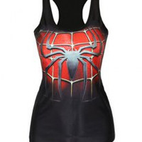Black Spiderman Print Sleeveless Tank Top