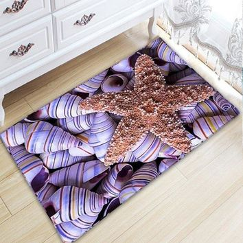 Conch Print Flannel Antislip Nautical Bathroom Rug