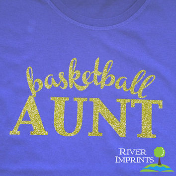 BASKETBALL AUNT cursive, sparkly glitter t-shirt with your choice of color-- fitted, regular, or long sleeve