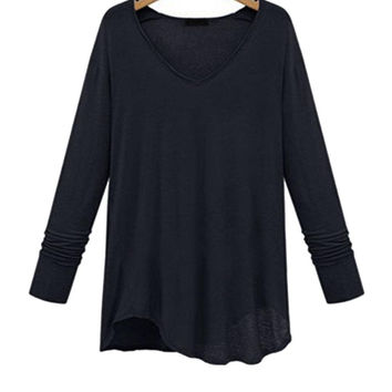 Plus Size Black V-neck Base Shirt