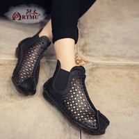 Genuine leather handmade women's shoes spring cutout cool women boots hole shoes vintage soft outsole flat sandals S31904-19