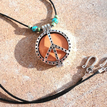 Peace Sign Essential Oil Diffuser Locket, Silver Aromatherapy Necklace, Boho Earthy Jewelry
