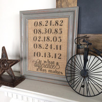 What a Difference a Day Makes - Burlap Art Print - Vintage Farmhouse Shabby Chic - Housewarming - Wedding Gift