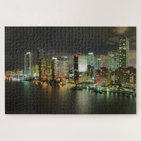 Miami Florida Night Time Skyline Jigsaw Puzzle