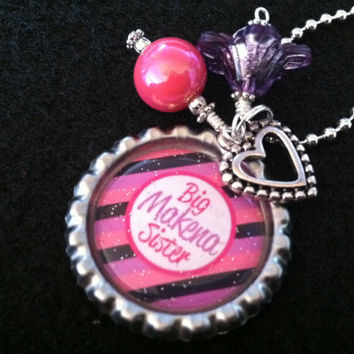 PERSONALIZED Little Girl's Big Sister Charm Necklace Bottle Cap Jewelry Children Kid Birthday Easter Gift Little Sister Baby Gift