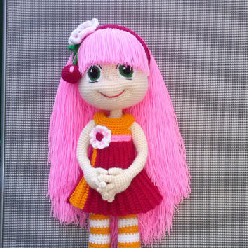 Knitted doll rose Crochet doll in red dress Amigurumi Crochet soft doll Soft doll  Crochet toy Doll with pink hair Red  dress 18 inch(46cm