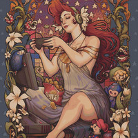 Extra Large - Cross stitch 'Gamer Nouveau' Medusa Dollmaker' - Modern Art Needlecraft Set with DMC Materials