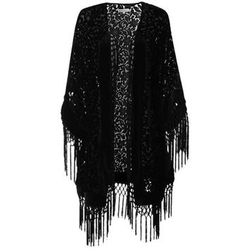 Buy True Decadence Velvet Baroque Kimono Top, Black online at John Lewis