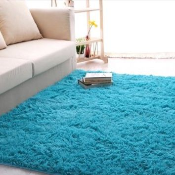Ultra Soft 4.5 Cm Thick Indoor Morden Area Rugs Pads, New Arrival Fashion Color [Bedroom] [Livingroom] [Sitting-room] [Rugs] [Blanket] [Footcloth] for Home Decorate. Size: 4 Feet X 5 Feet (Blue)