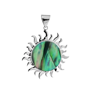 AP-1009-AB Sterling Silver divine sparkling Sun Pendant With Round Shape Abalone Shell