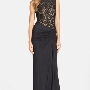 Women's Tadashi Shoji Colorblock Lace Bodice Ruched Gown