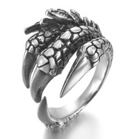Men's Stainless Steel Ring Silver Black Dragon Claw Leaf Vintage