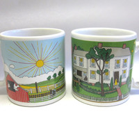 Farm Scenes Coffee Cups Set Of Two Mugs Country