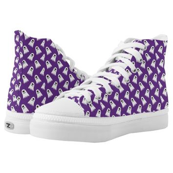 Cute Halloween White Ghosts On Purple Printed Shoes