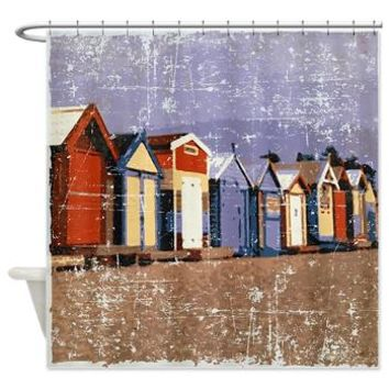 Distressed Beach Huts Cabanas Shower Curtain> Coastal, Vintage and Urban Chic Shower Curtains> Rebecca Korpita Coastal Design