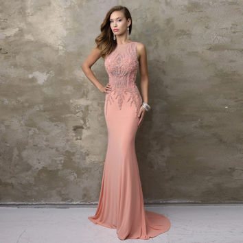 Sexy Mermaid Long Fitted Party Dress Sheer Back See Through Pearls Beading Pink Prom Dress 2017 Women Formal Party Dress WH-27