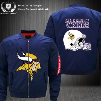 Dropshipping USA Size Men MA-1 Jacket Football Team Minnesota Vikings Flight Jacket Costume Design Printed Bomber Jacket made