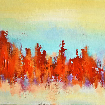"Autumn Reflection 5 original abstract painting 9,5""x12"""