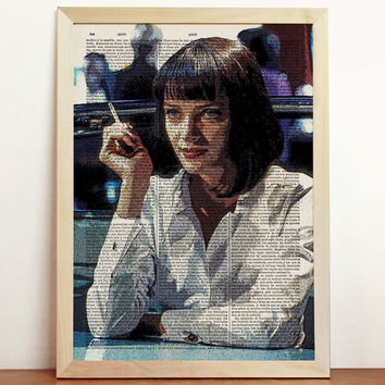 Pulp Fiction Mia Wallace Print Tarantino Movie Uma Thurman Poster Film Retro Vintage Art Upcycled Decor Book Dictionary A4 8.3 x 11.7 in