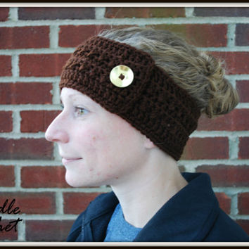 Crochet Headband Earwarmer Accessory Warm for Fall Winter with Button Christmas Gift Present Brown Natural Color Acrylic Yarn
