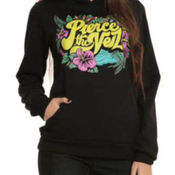 Pierce The Veil Tropical Floral Logo Girls Pullover Hoodie