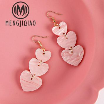 2017 Women Vintage Fashion Shell Dangle Earrings Circle Heart Wooden Wafer Boucle D'oreille Pendante Femme Ear Jewelry