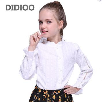 Blouses for Kids Lace Shirts Baby Solid Tops Girls White Long Sleeve Shirts  Girls Ruffles Blouses