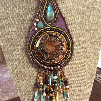 Destiny Medallion - Ancient Ammonite Fossil and Gemstone Art Pendant - Bead Embroidery Necklace