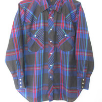 Vintage 1980s Plaid Western Snap Buttondown Shirt