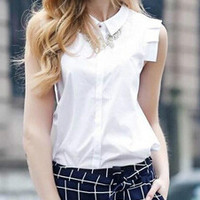 White Sleeveless Pointed Flat Collar Buttons Blouse
