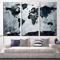 Large Art Canvas Print - Grunge World Map on Metal Texture Canvas Print, 3 Panel Map Art Print, Grunge World Map Art Print