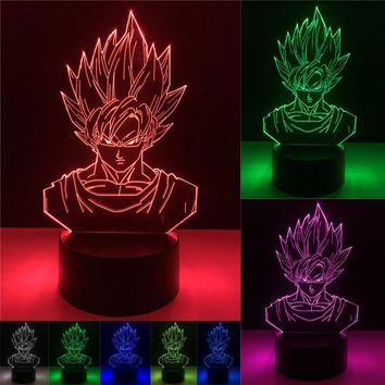Dragon Ball Super Saiyan Goku Face 3D LED Lamp