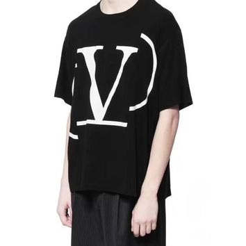 """Valentino"" Unisex Leisure  Fashion Letter  Printing  Short Sleeve  Loose Large Size Tops"