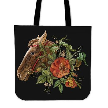 Embroidery Horse Linen Tote Bag - Promo