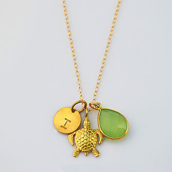 Personalized Turtle Natural Birthstone 14K gold filled necklace - 24K Vermeil Gold Pendant Charm,  Bezel teardrop, hand stamped initial